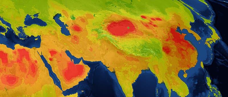 Asia air pollution map