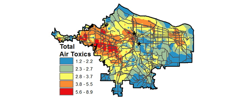 composite map of PDX total air toxics