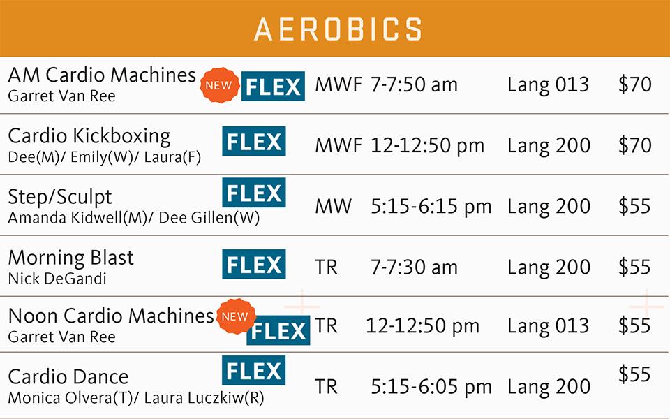 fsf schedule spring 2019 aerobics