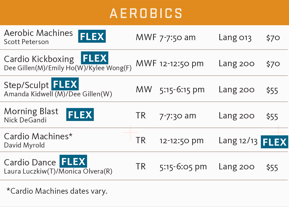 FSF fall 2017 aerobics schedule