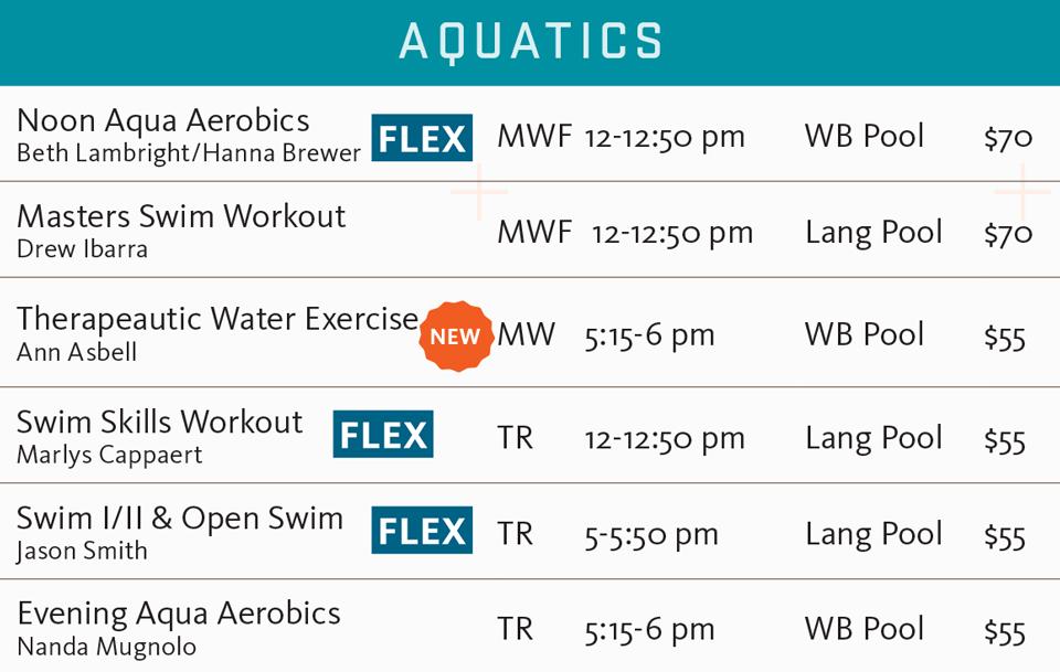 FSF fall 2017 aquatics schedule