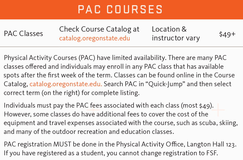 FSF fall 2017 PAC courses schedule