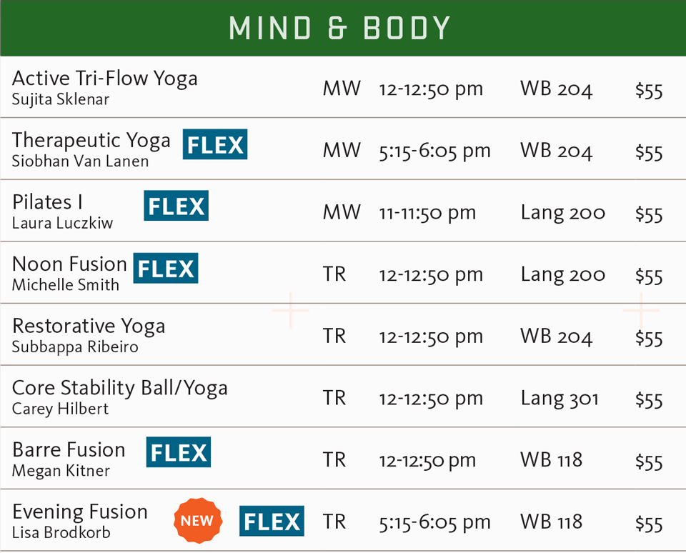 FSF fall 2017 mind and body schedule
