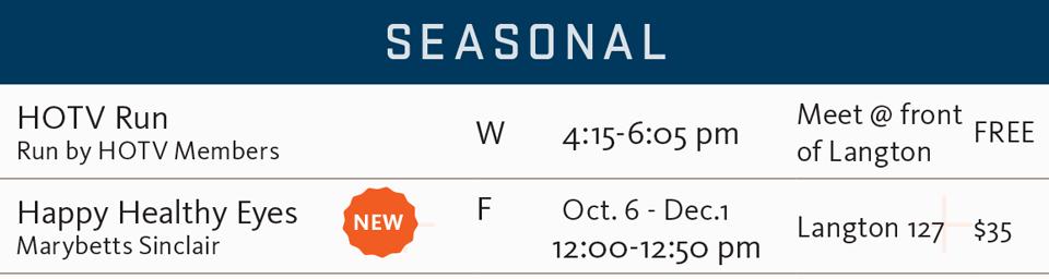 FSF fall 2017 seasonal schedule