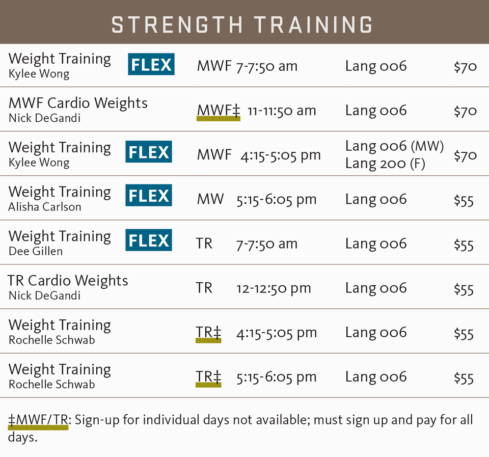 FSF fall 2017 strength training schedule