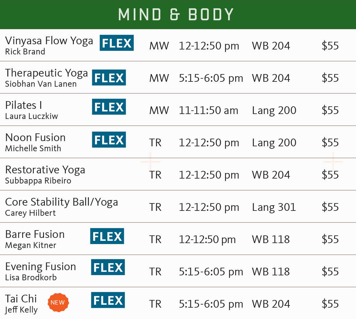 FSF Spring 2018 mind and body schedule
