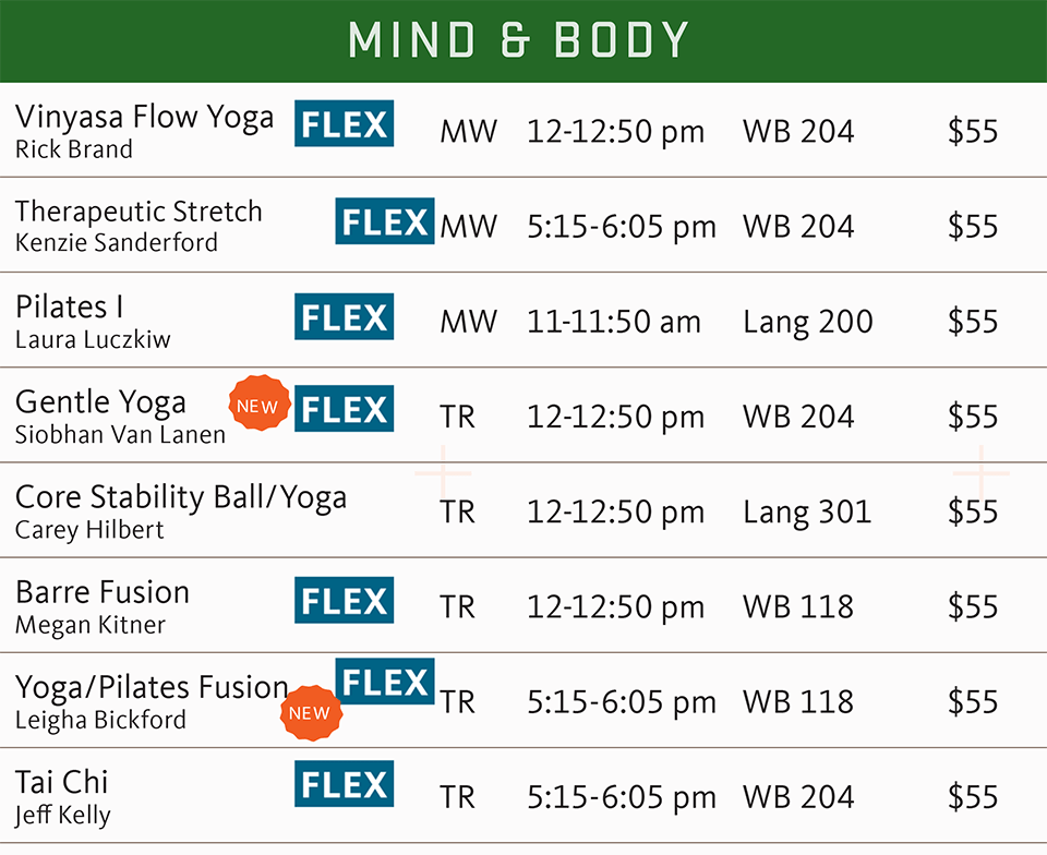 fsf schedule spring 2019 mind and body