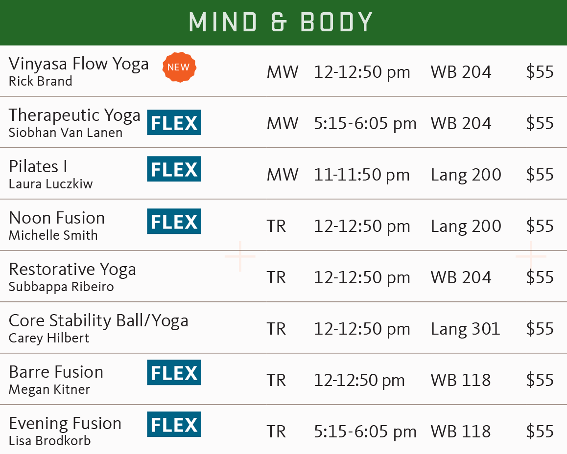 FSF winter 2018 mind and body schedule