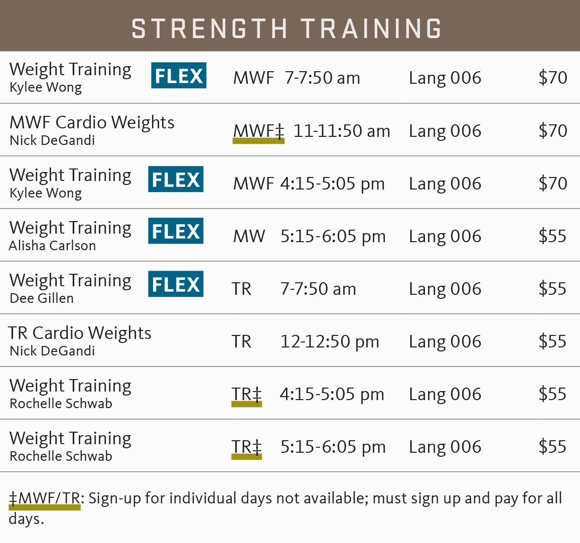FSF Spring 2018 strength training schedule