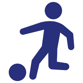 icon. Stick figuring kicking a ball.