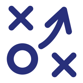 Pattern of X's, O's, and an arrow demonstrating strategy, icon.