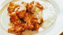 """Mediterranean Cauliflower """"Wings"""" with Tzatziki Sauce"""
